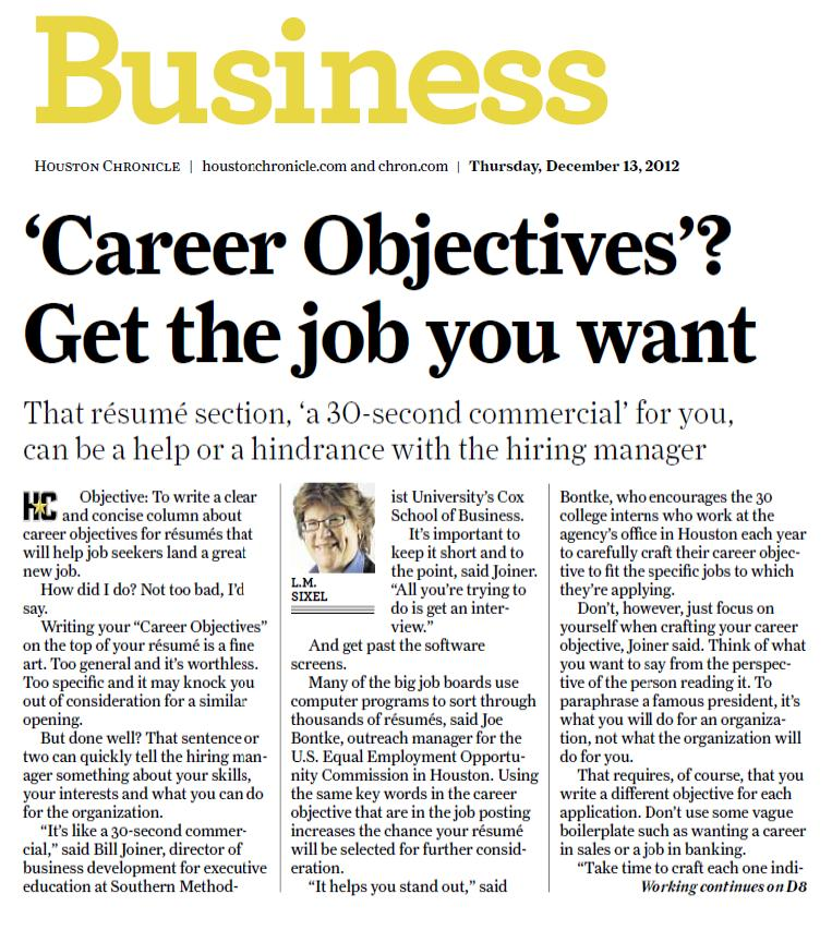 resume article in today s chronicle touches all the bases