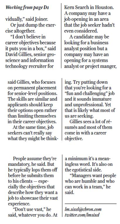 Resume article in today's Chronicle touches all the bases